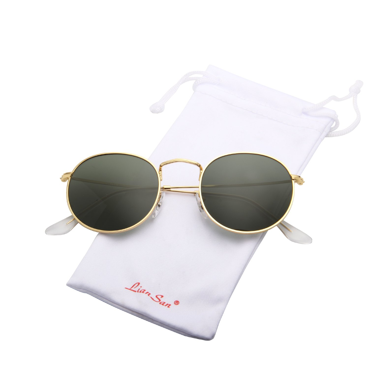 LianSan Classic Metal Frame Round Circle Mirrored Sunglasses for Men and Women Glasses 3447 Green Glass Lenses