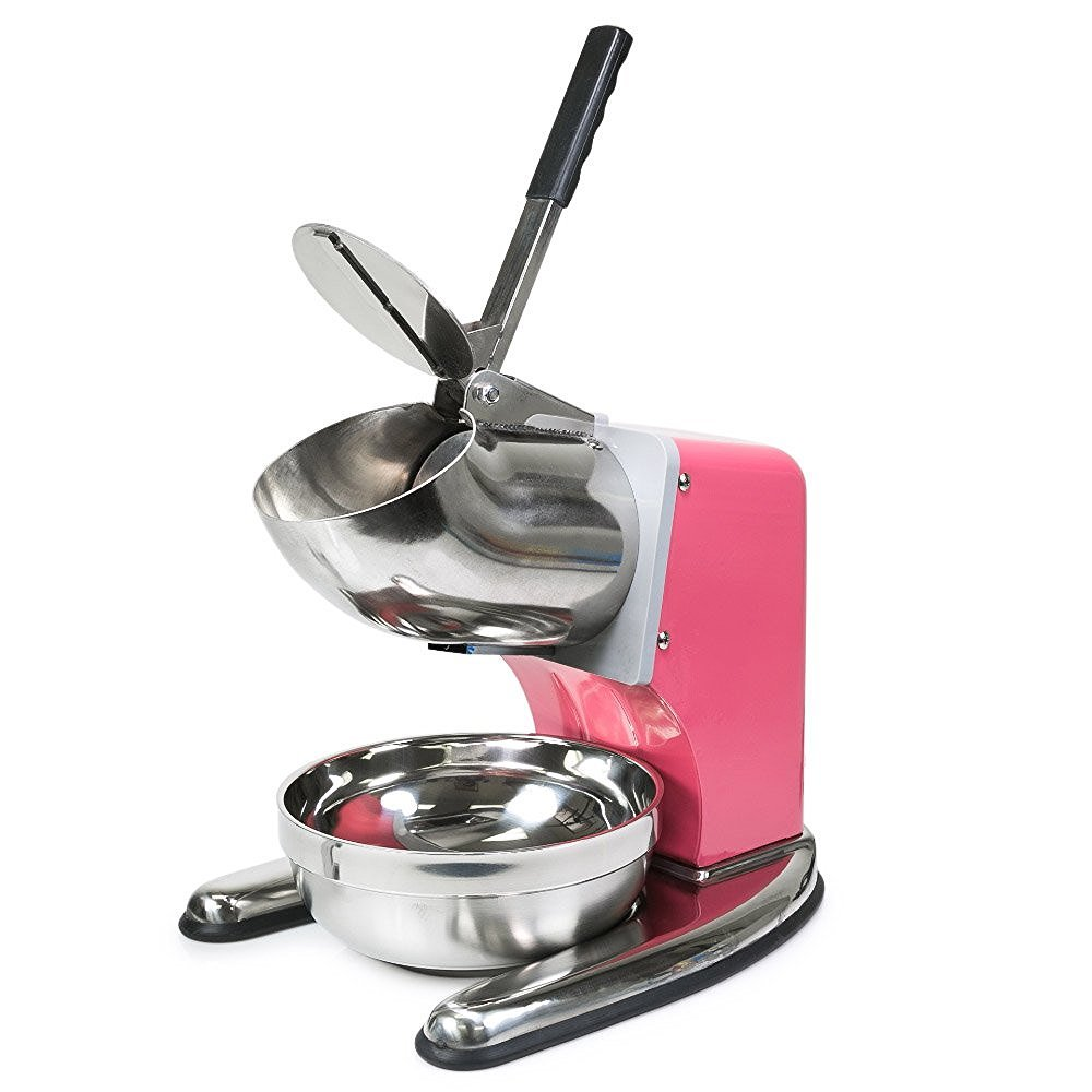 FonChef Commercial Dual Blade 143lb/h Ice Shaver Crusher Shaved Icee Maker Machine Pink