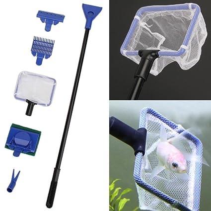 QHJ Juego de limpieza 5 en 1 para acuario y pecera, limpiador de algas y