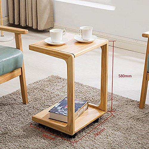 D&L Solid Wood Waterproof Side Table, Vintage with Wheels Sofa Table Bedroom Night Table Modern Simple Coffee Table Storage Rack-Log