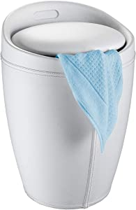 "WENKO Candy Leather Look Bathroom Stool, 14.2"" x 19.9"" x 14.2"", White"