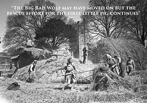 (Land girls and farmers on rick with threshing machine at harvest time. Large A5 greeting card. Humorous with funny caption. Blank on the inside perfect for any occasion. Ideal for people who like farming, bygone days, the countryside, vintage photographs.)