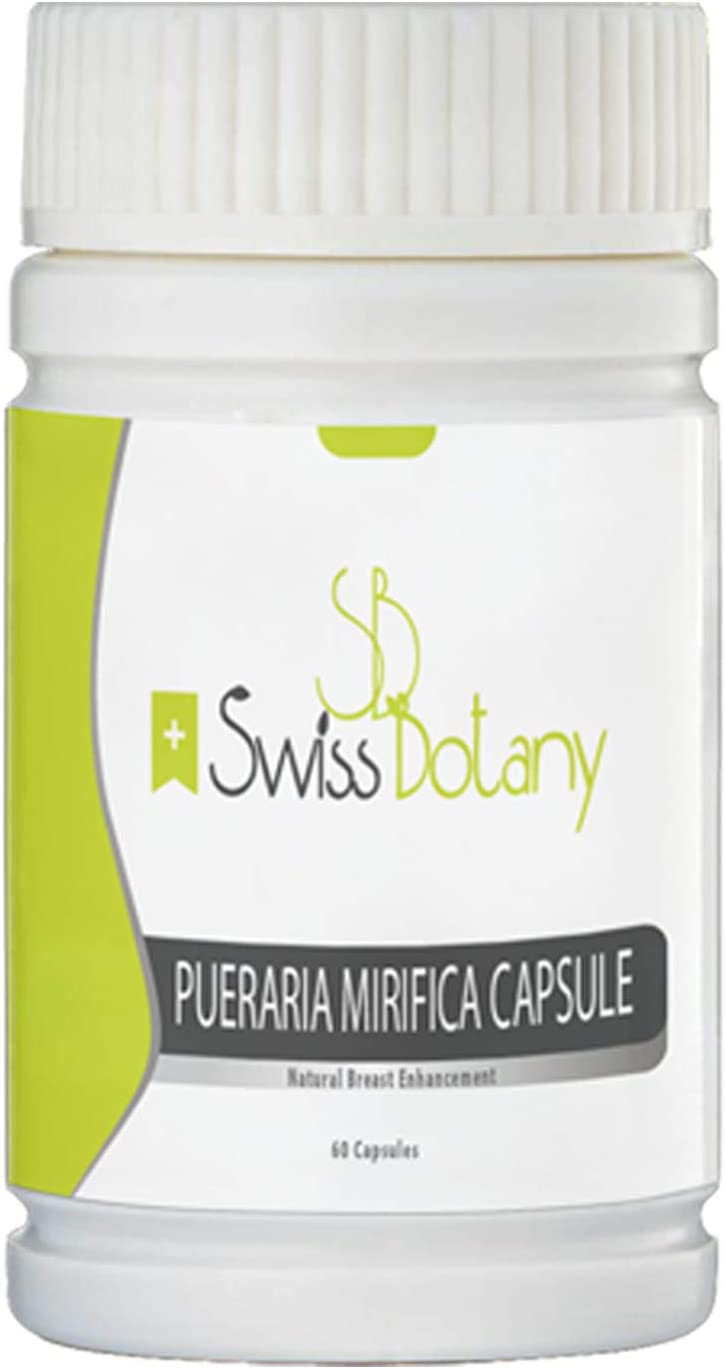 Swiss Botany Pueraria Mirifica Capsules for Natural Bust Enhancement, Restore Elasticity and Smoothness, Improve Skin, Hair and Nails, Take with Food, 60 Capsules, 1 Bottle