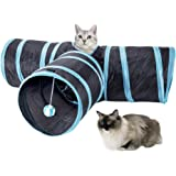 SlowTon Cat Tunnel Toy, Crackle Paper Collapsible Tube Three Connected Run Road Way Tunnel Catnip House with Fun Ball Puzzle Exercising and Playing for Kitten, Rabbits and Small Dogs