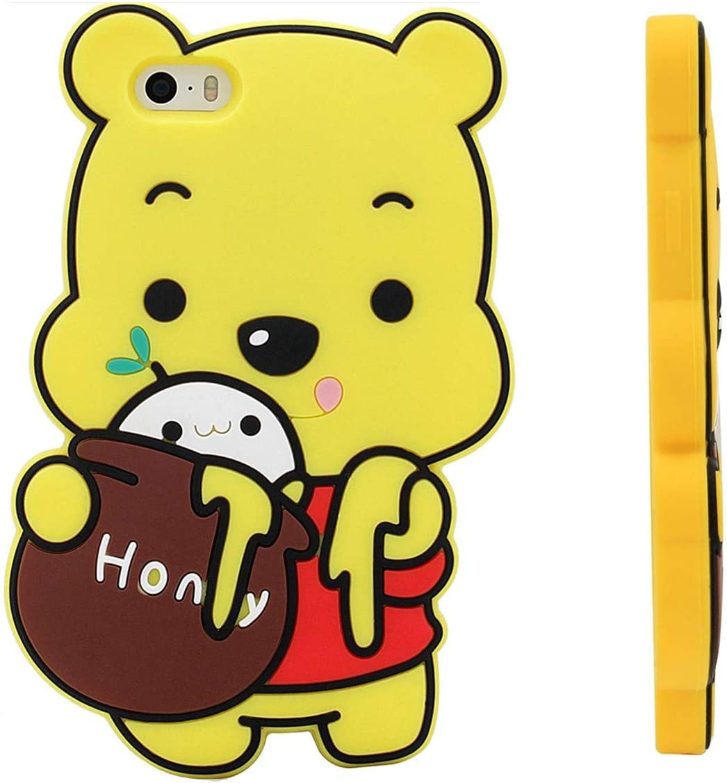 "Honey Winnie Case for iPhone 7/8/SE 2020 4.7"" inch,3D Cartoon Animal Pooh Design Cute Soft Silicone Cover, Kawaii Animated Stylish Fashion Cool Skin for Kids Child Teens Girls Women (iPhone7 /iPhone8)"