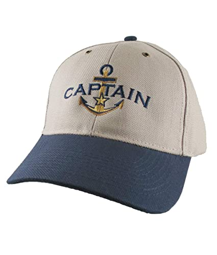 5bfc12ecd6ed1 Amazon.com  Nautical Star Golden Anchor Boat Captain Embroidery on an  Adjustable Khaki and Navy Structured Baseball Cap Options to Personalize  the Hat  ...