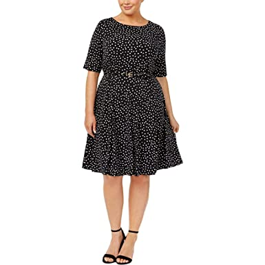 Charter Club Plus Size Dot-Print Belted Dress (Deep Black Combo, 3X ...