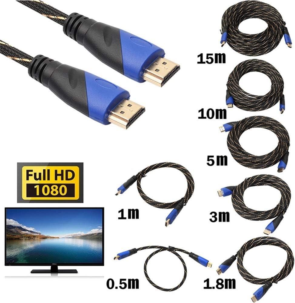 Hihey Cavo di prolunga Cavo HDMI ad Alta velocit/à Connessione placcata Oro con Nylon Nero Intrecciato 1080P 1 m