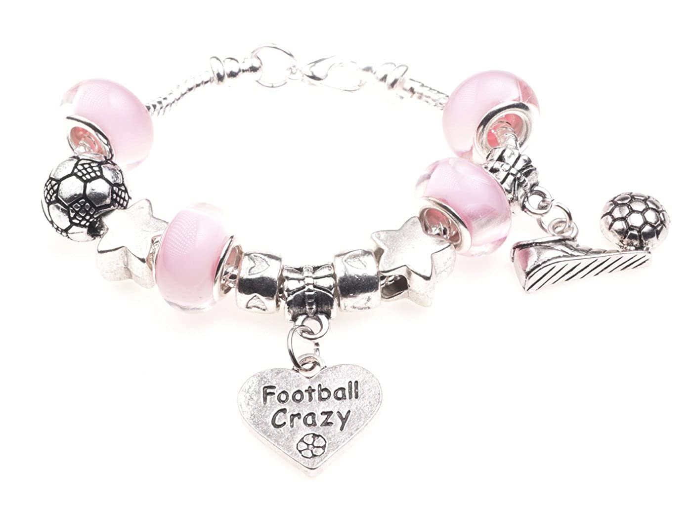 'I Love Football' Sport Themed Childrens Charm Bracelet with Gift Box Girls Jewellery Jewellery Hut BRkidsFootball