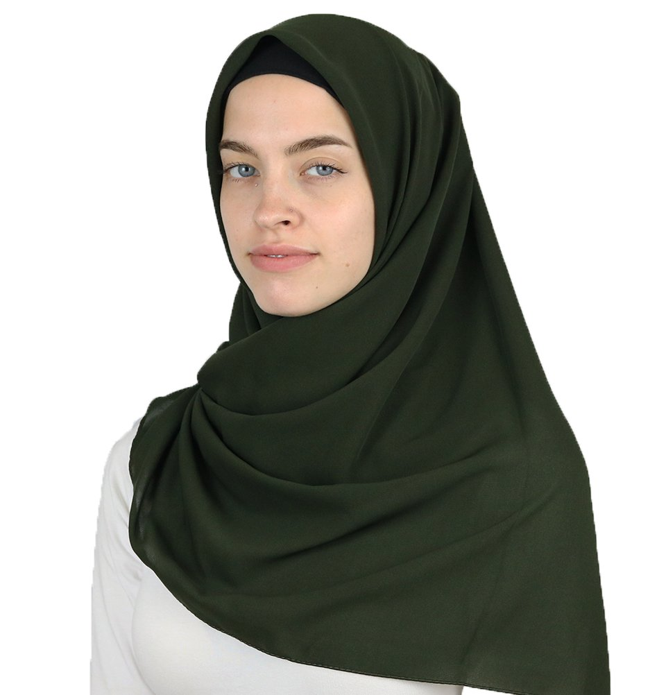 Medine Square Solid Chiffon Turkish Hijab Islamic Scarf 42x42in