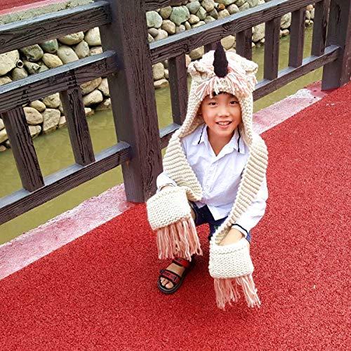 Baby Girls Boys Winter Hat Scarf Unicorn Winter Hat Earflap Hood Scarves Caps Animal Hats Knitted Unicorn Hood Scarf Beanies(Pink Unicorn Kids hat 5-10 Years olds)