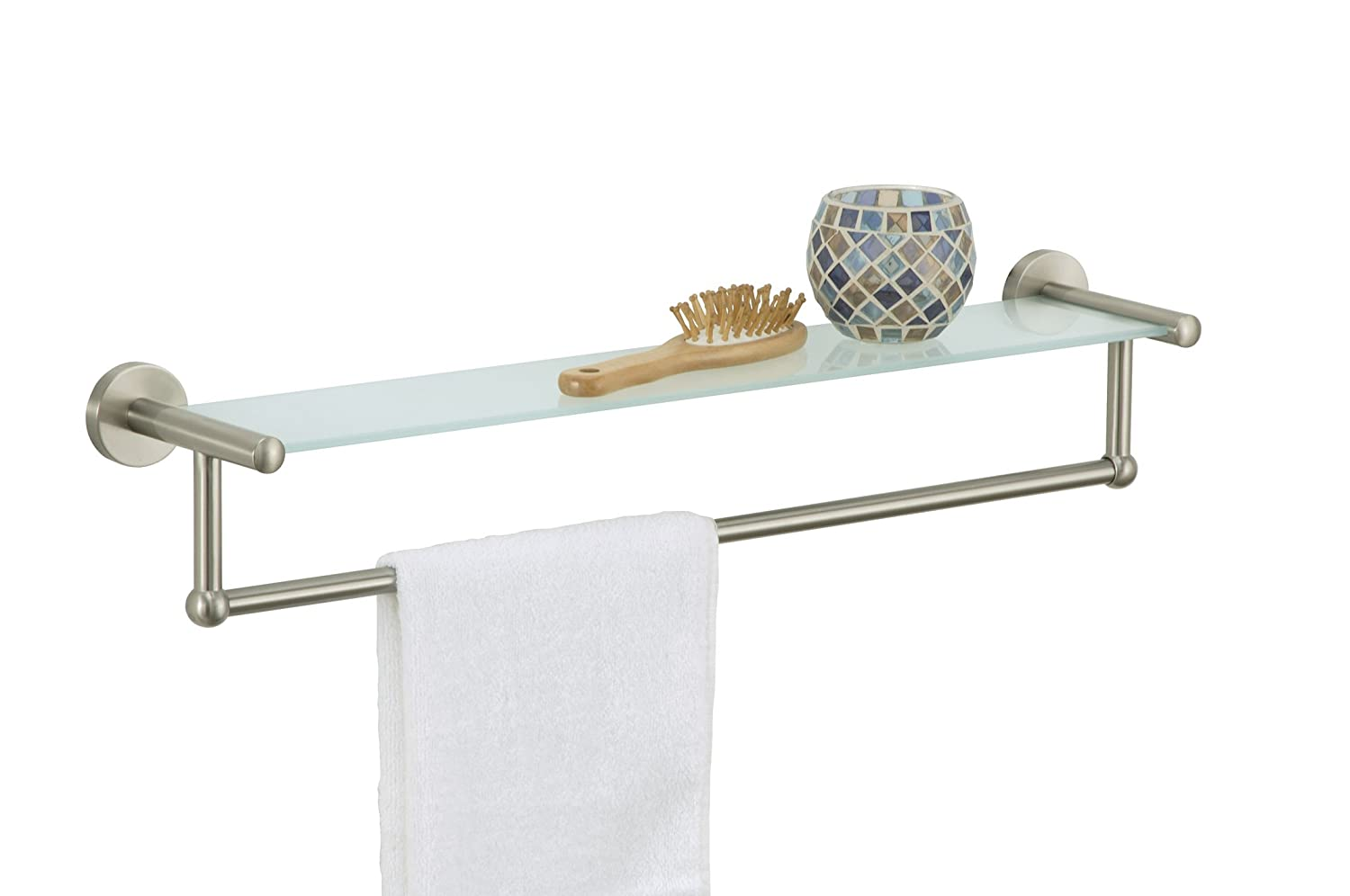amazoncom organize it all satin nickel glass shelf with towel bar home kitchen - Bathroom Glass Shelves