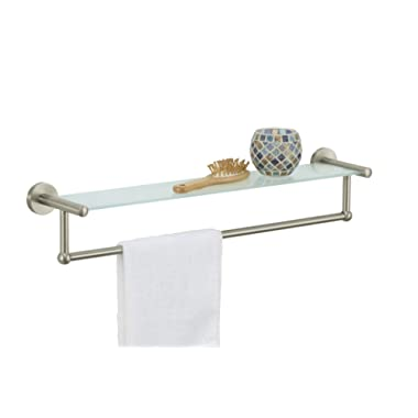 Organize It All Satin Nickel Glass Shelf with Towel Bar