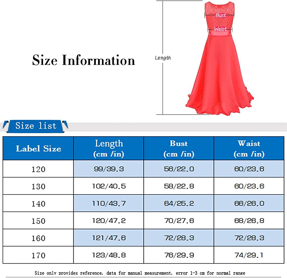 LPATTERN Girls Sleeveless Lace Chiffon Wedding Maxi Long Dresses Bridesmaid Birthday Party School Prom Flower Dress Evening Costume, Age 4-15 Years
