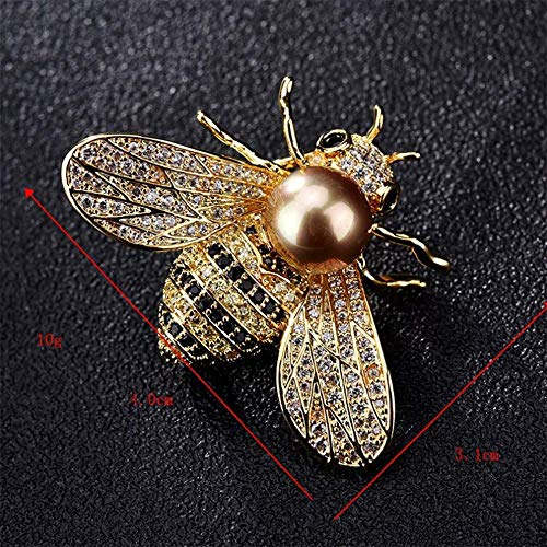0b8721bcacd TULIP LY Honey Bee Brooches Crystal Insect Themed Bee Brooch Animal Fashion  Shell Pearl Brooch Pin