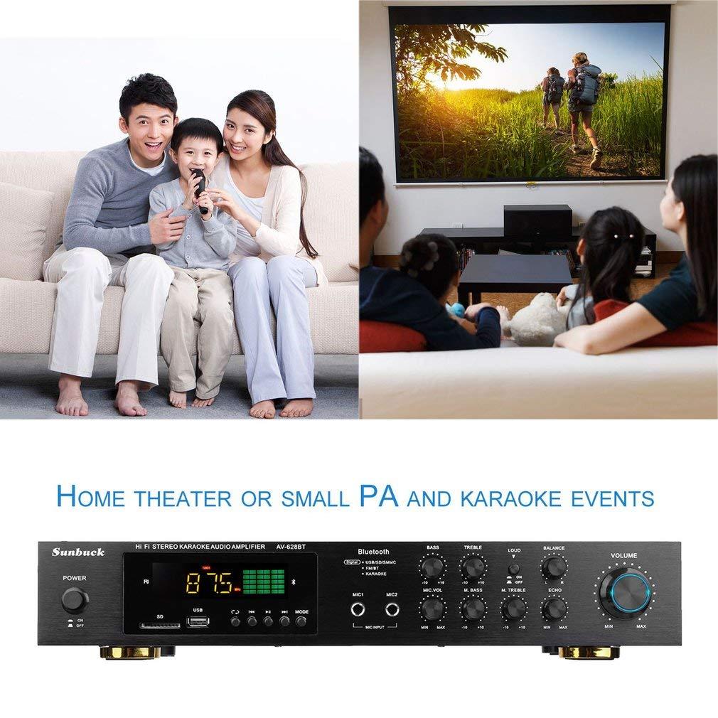 Amplificador de Potencia de Alta fidelidad estéreo de Sonido Envolvente de 220V 5 Canales Bluetooth (Color: Negro): Amazon.es: Electrónica