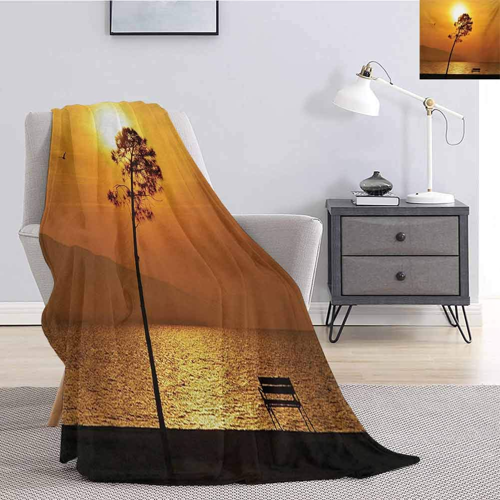 Luoiaax Tree Luxury Special Grade Blanket Lonely Sunset Tree by The Sea Sun Disappears and Day Fades Down Twilight Concept Print Multi-Purpose use for Sofas etc. W60 x L70 Inch Orange by Luoiaax