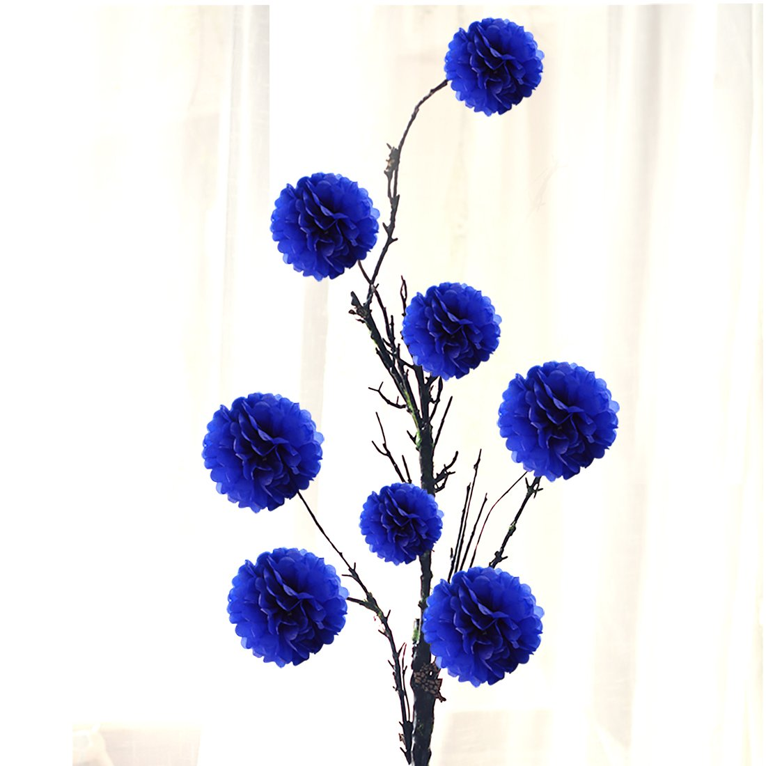 Amazon.com: 10pcs Royal Blue Tissue Hanging Paper Pom-poms, Hmxpls ...