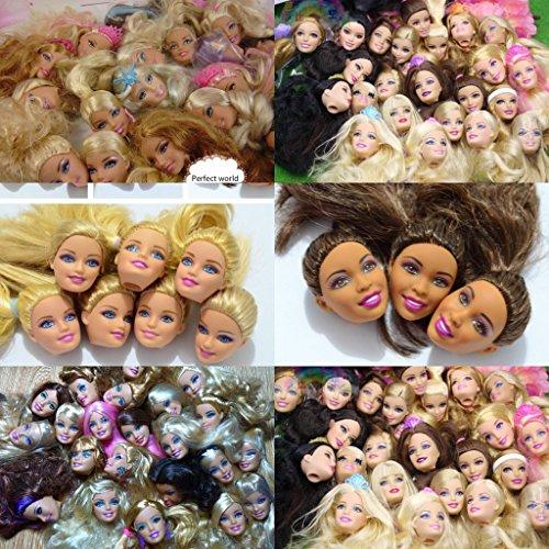 WellieSTR Lot Of 5pcs Doll Heads For Barbie Dolls DIY Birthday Gifts Mix-Style Dolls Heads (Random Stlye,Random (Craft Doll Heads)