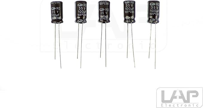10 Stück Elko 100µf 35v Kondensator Elkos Elektrolytkondensatoren 100 Uf 35 V 105 Radial Elektronik