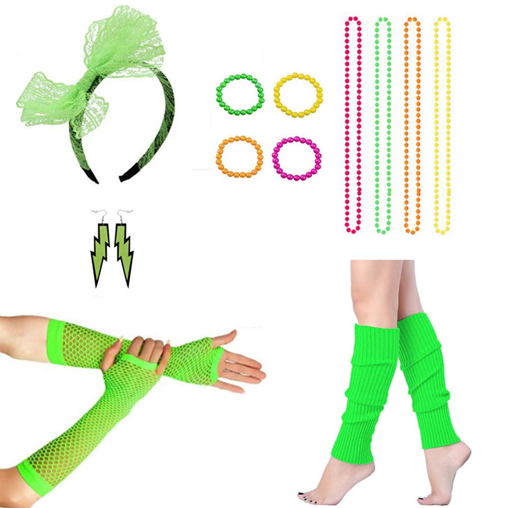 MADHOLLY 80s Lace Headband Earrings Neon Bracelet Necklace Leg Warmers Fishnet Gloves for Eighty's Party