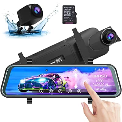 AKASO Mirror Dash Camera for Cars - 10'' Backup Camera 1080P Dual Dash Cam Front and Rear Stream Media Touch Screen DVR with Sony IMX307 G-Sensor Parking Monitor 32 GB SD Card (DL9): Car Electronics