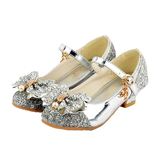 a6958ca1b3bc Image Unavailable. Image not available for. Color: Girls Glittering Sequin  Princess Shoes Bowknot Butterfly Low Heel ...