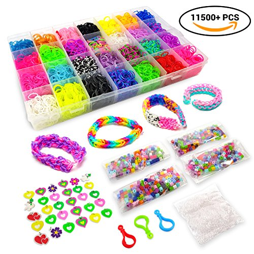 11500+ Rainbow Loom Bands Mega Refill Kit – DIY Crafts Rubber Bracelets for Kids – 10500 Premium Rubber Bands, 30 Charms, 5 Hooks, 250 Beads, 550 Clips, Organizer – Crazy - Silver Fashion Design