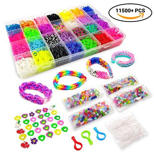 11500+ Rainbow Loom Bands Mega Refill Kit – DIY Crafts Rubber Bracelets for Kids – 10500 Premium Rubber Bands, 30 Charms, 5 Hooks, 250 Beads, 550 Clips, Organizer – Crazy Bracelet Making Kit 42 Colors