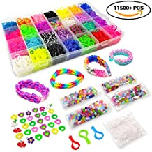 11500+ Rainbow Loom Bands Mega Refill Kit – Rubber Band Bracelet Kit for Kids – 10500 Premium Crazy Loom Rubber Bands, 30 Charms, 5 Hooks, 250 Beads, 550 Clips – DIY Crafts Making Bracelets 42 Colors
