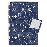 Roostery Stars Space Moon Sun Blue Celestial Tea Towels Solar System - Blue by Heatherdutton Set of 2 Linen Cotton Tea Towels