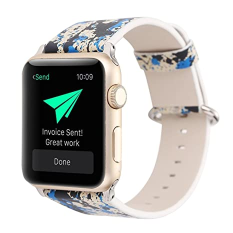 Para 1/2 de Apple Watch 38 mm correa de reloj correa de piel ...