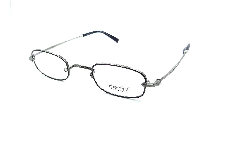 c07f93c225f Amazon.com  Matsuda M10211H AS Eyeglasses Frames 44-26-145 Antique  Silver Dark Blue Japan  Clothing