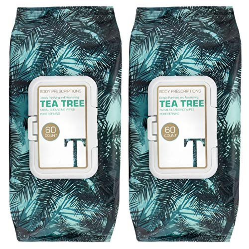 Body Prescriptions 2 Pack (50 Count Each) Tea Tree Facial Cleansing and Gentle Make Up Remover Wipes - Flip Top Pack