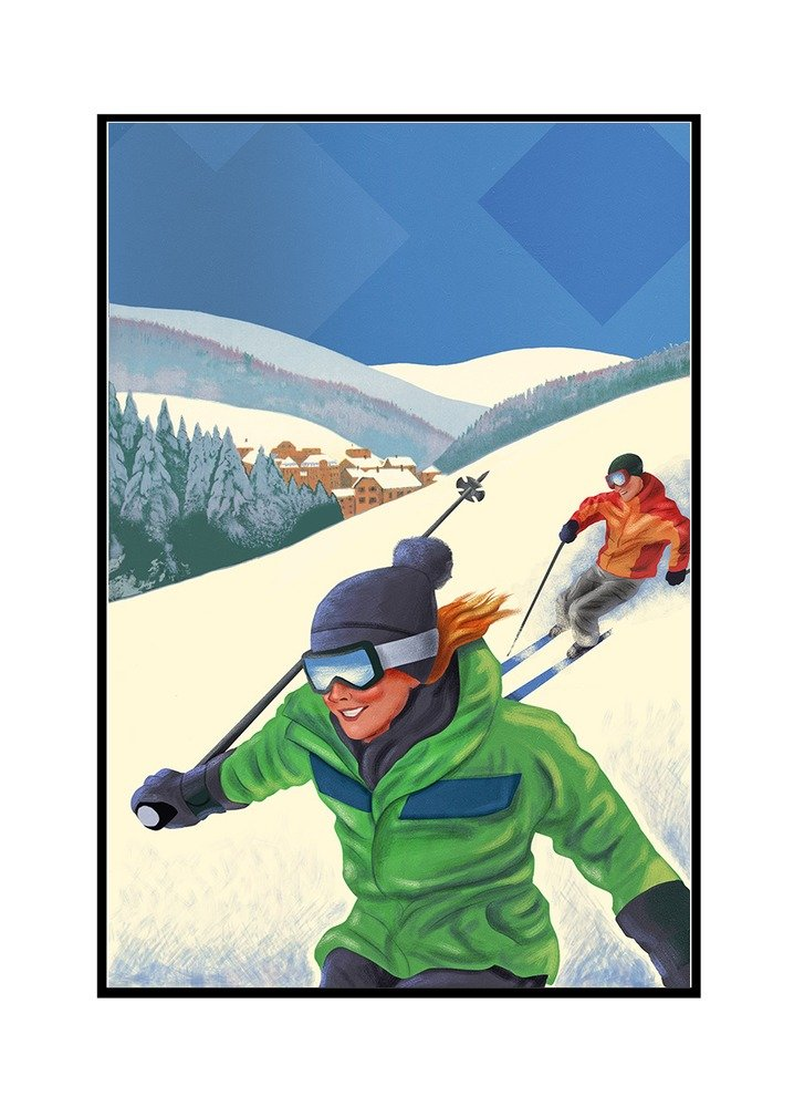Woman Skiing 16x24 Framed Gallery Wrapped Stretched Canvas