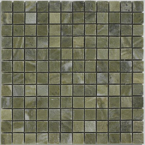 1 X 1 Verde Laguna Marble Polished Mosaic Tile Meshed on 12 x 12 (Indian Autumn Slate Tile)