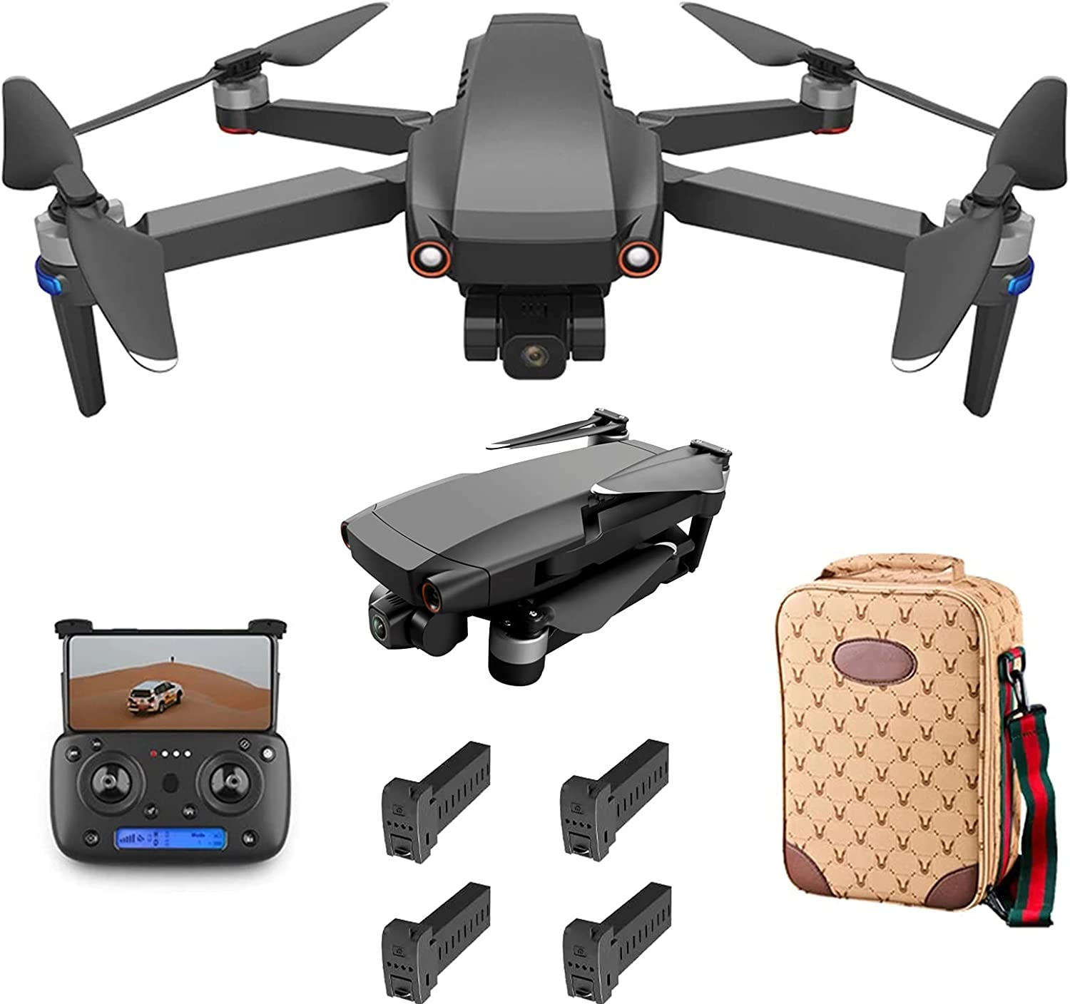 Lailuaxoa Foldable GPS Drone with Camera 8K for Beginners, Mini Drone with Smart Selfie/Brushless Motor/Smart Return to Home/Follow Me/5G WiFi Transmission