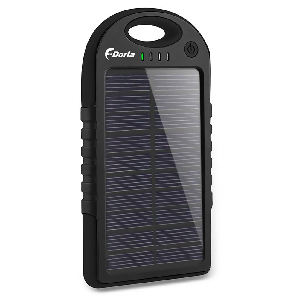 Solar Charger, 5000mAh Solar Power Bank Portable Dual USB Solar Phone Charger, Waterproof/Shockproof/Dustproof External Battery Pack for Cell Phone iPhone Samsung Tablet Camera and More (Black)