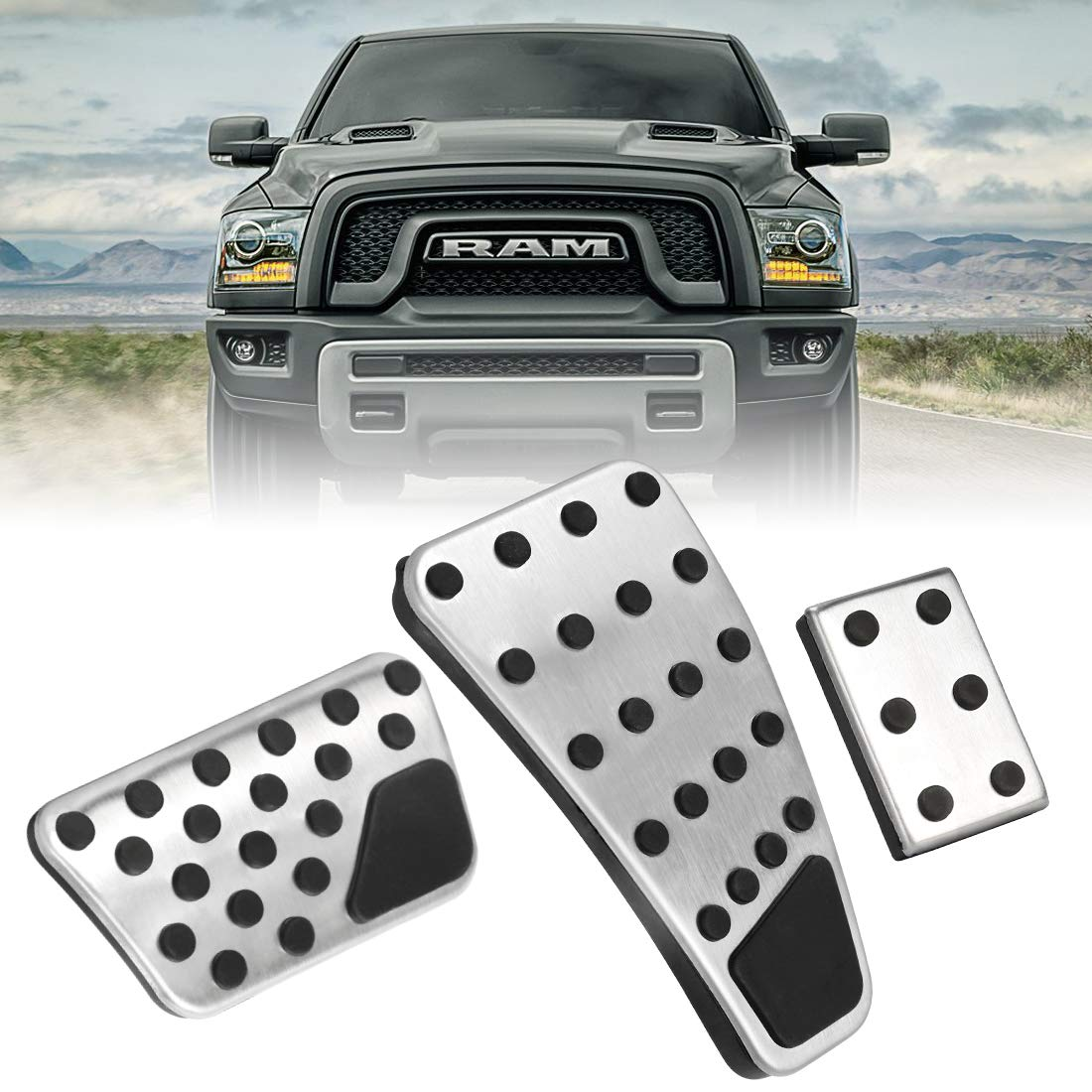 BORDAN Dodge Ram Accelerator Gas Pedal Brake Pedal Cover Aluminum Alloy Foot Pedal Pads Kit Fit for Dodge Ram 2011-2018 1500 2500 3500