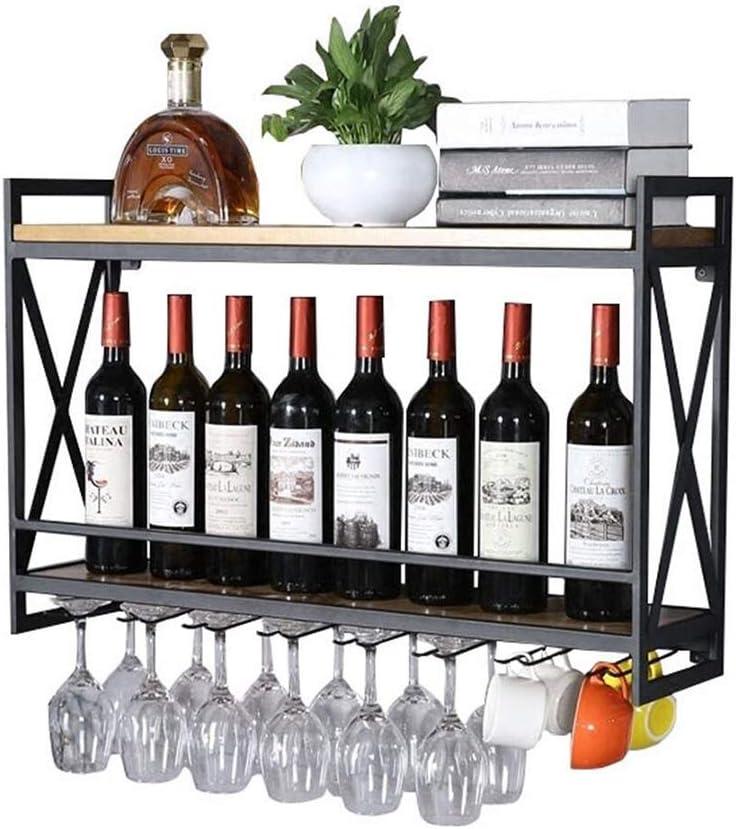 Stemware Racksウォールマウントワインボトルホルダーウォールマウントワインラック|調整可能な高さ|壁掛けワインボトルホルダー|金属鉄ワイングラスカップラック|ゴブレット・ステムワール