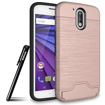 Btduck Coque Pour Motorola Moto G4 / G4 Plus Protection Empêche l'écran d'être brisé Combo Structure de stabilisation bicouche Silicone doux en plastique dur Or Rose Cuir Produit extérieur Cas