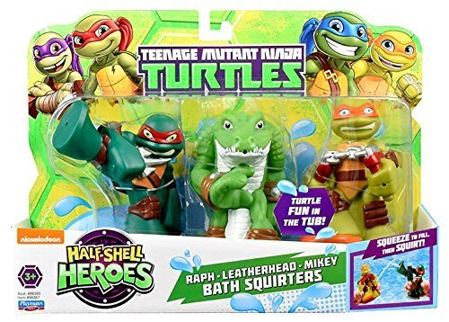 Bathtub Squirters - Teenage Mutant Ninja Turtles Pre-Cool Half Shell Heroes Michelangelo, Leatherhead and Raphael Bathtub Squirter Figure (Pack of 3)
