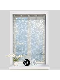 ISINO 1 Piece Tab Top Sheer Voile Roman Shade Kitchen Balcony Drape Burnout  Fabric Window Curtain
