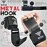WYOX Power Weight Lifting Training Gym Straps Hook bar Wrist Support Lift Gloves (Black)