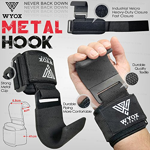 Wyox Power Steel Metal Weightlifting Strap Hooks Wrist Support Neoprene Padded Gloves - Premium Quality (Black)
