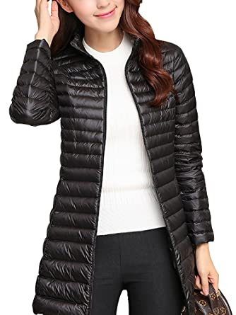 969bac3cf Women's Packable Ultralight Long Down Jacket Puffer Coat Casual Slim Parka  Outerwear