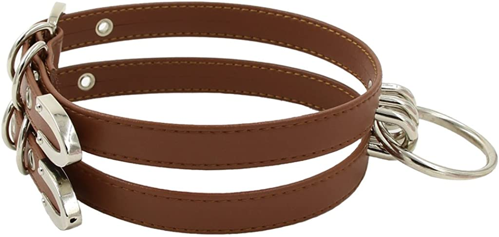 Handmade Faux Leather Double Straps O Ring Choker Collar