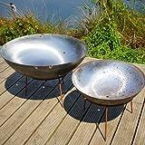 Round Wood Trading 120cm Steel Bowl Dish Wood Burner/Fire Pit, Brown/Rust, 120x120x38 cm