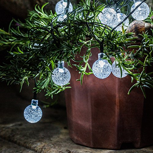 voona Solar Outdoor String Lights - 2-Pack 30ct 20ft Clear Crystal Ball Bright White LED Decoration Strings for Holiday Party Outdoor Garden (Crystal Ball)