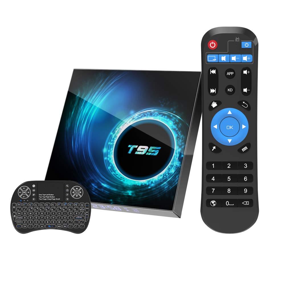 Android 10.0 TV Box, 4GB 32GB Smart TV Box T95 Allwinner H616 64bit Dual WiFi 2.4GHz/5GHz Bluetooth 5.0 6K/4K Ultra HD/ 3D/ H.265 10/100 Ethernet with Mini Wireless Backlit Keyboard